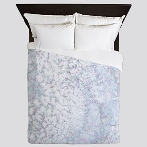 Gray and White Marble Watercolor Queen Duvet