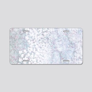 Gray and White Marble Water Aluminum License Plate