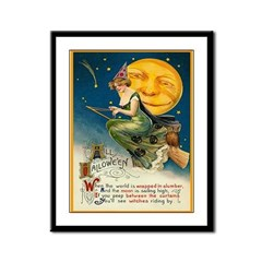 Halloween Witches Riding By Framed Panel Print
