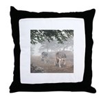 Hunters in the Mist; Throw Pillow
