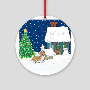 Christmas Lights Corgi Ornament (Round)