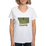 Montana State Cornhole Champi Women's V-Neck T-Shi