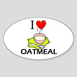 I Love Oatmeal Oval Sticker