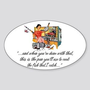 Fishing Housewife Oval Sticker