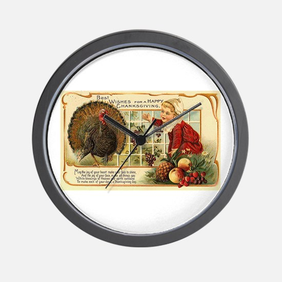 Thanksgiving Wishes Wall Clock