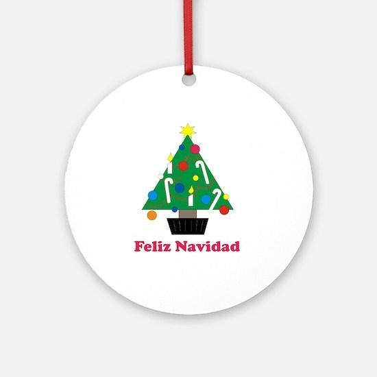 Feliz Navidad - Christmas Tre Ornament (Round)