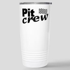 Pit Crew Racing Flag Stainless Steel Travel Mug