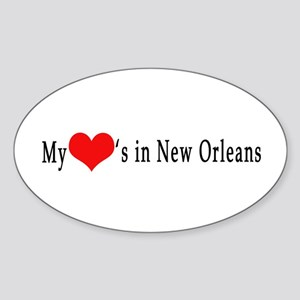My Heart's in New Orleans Oval Sticker
