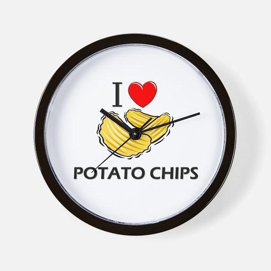 I Love Potato Chips Wall Clock