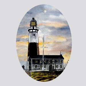 Montauk Point lighthouse New Oval Ornament
