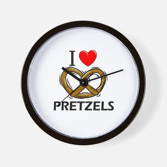 I Love Pretzels Wall Clock