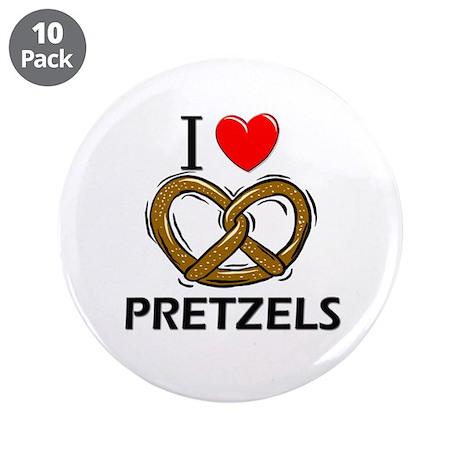 "I Love Pretzels 3.5"" Button (10 pack)"