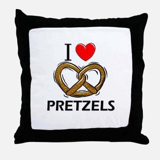 I Love Pretzels Throw Pillow