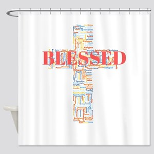 Blessed Word Art Cross Shower Curtain