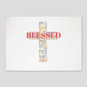 Blessed Word Art Cross 5'x7'Area Rug