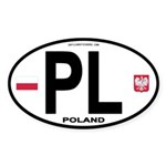 Poland Intl Oval Oval Sticker (10 pk)