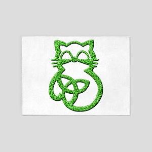 Green Glitter Trinity Knot Celtic Cat 5'x7'Area Ru
