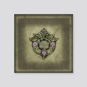 "Decorative Wreath Motif Square Sticker 3"" x 3"""