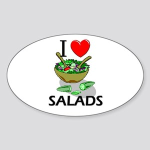 I Love Salads Oval Sticker