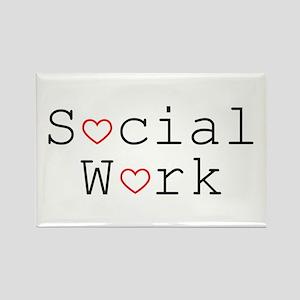 Social Work Hearts Rectangle Magnet