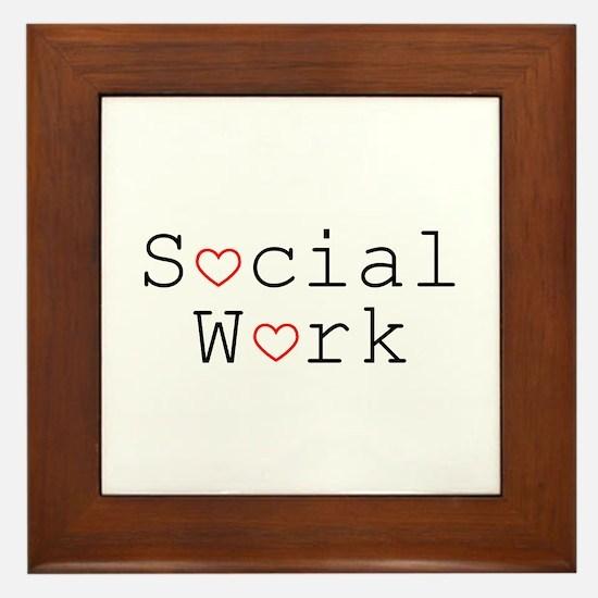 Social Work Hearts Framed Tile