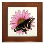 Black Swallowtail Butterfly and Flower Framed Tile