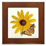 Painted Lady Butterfly and Flower Framed Tile