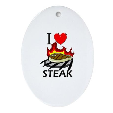 I Love Steak Oval Ornament