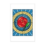 Celtic Rose Stained Glass Mini Poster Print