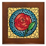 Celtic Rose Stained Glass Framed Tile