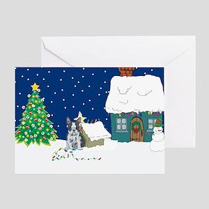 Christmas Lights Boston Terrier Greeting Card