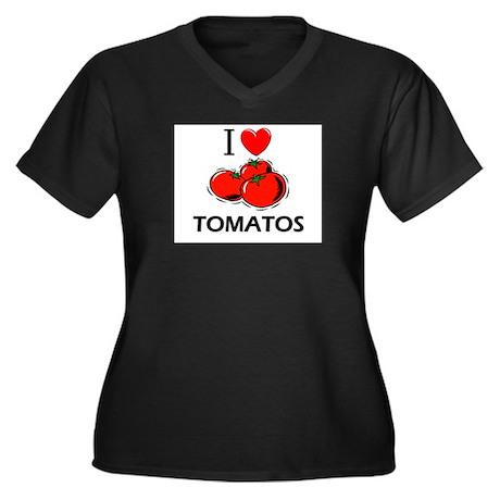 I Love Tomatos Women's Plus Size V-Neck Dark T-Shi