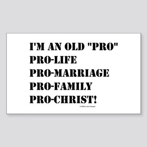 """I'm an Old """"Pro"""" Rectangle Sticker"""
