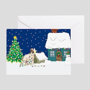 Christmas Lights Afghan Hound Greeting Card