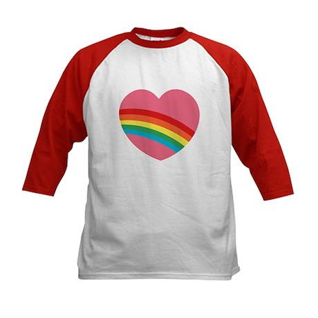 80s Rainbow Heart Kids Baseball Jersey