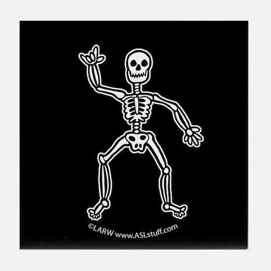 ILY SkeletonBlack Tile Coaster
