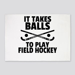 Field Hockey Gift It Takes Balls to 5'x7'Area Rug