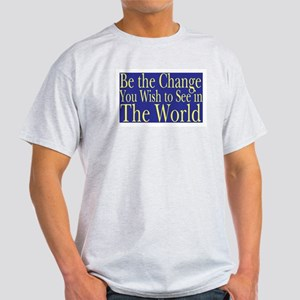 Be the Change (blue) Ash Grey T-Shirt