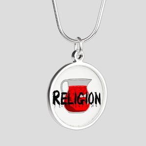 Religion Brainwashing Drink Silver Round Necklace