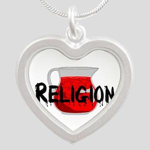 Religion Brainwashing Drink Silver Heart Necklace