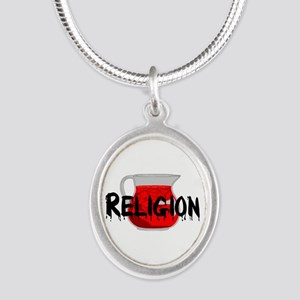 Religion Brainwashing Drink Silver Oval Necklace