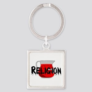 Religion Brainwashing Drink Square Keychain