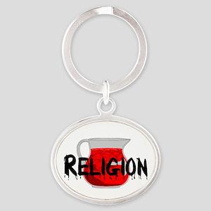 Religion Brainwashing Drink Oval Keychain