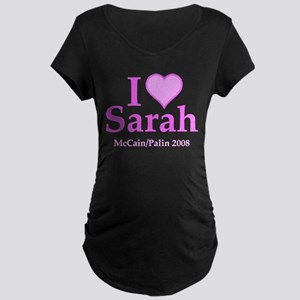 I Heart Sarah Pink Maternity Dark T-Shirt