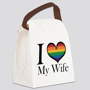 I Heart My Wife Canvas Lunch Bag