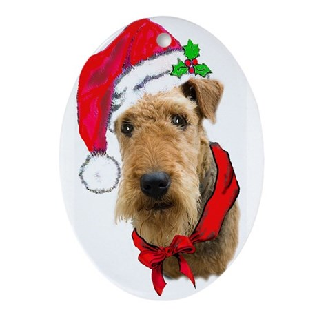 Airedale Christmas Oval Ornament