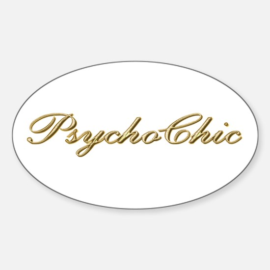 Gold PsychoChic Oval Decal