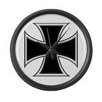 BIKER IRON CROSS Large Wall Clock