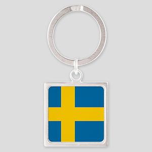 Flag: Sweden Square Keychain