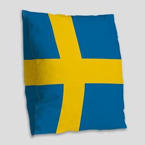 Flag: Sweden Burlap Throw Pillow